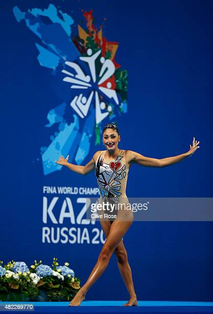 Evangelia Platanioti of Greece competes in the Women's Solo Free Synchronised Swimming Final on day five of the 16th FINA World Championships at the...