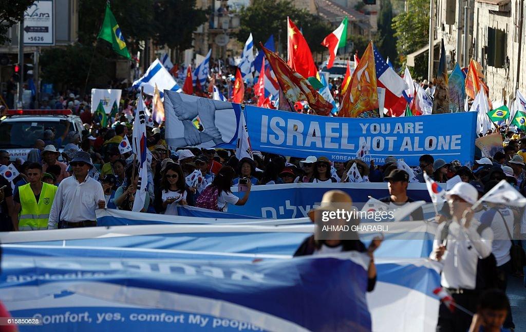 ISRAEL-JERUSALEM-MARCH-TABERNACLES-CHRISTIAN : News Photo