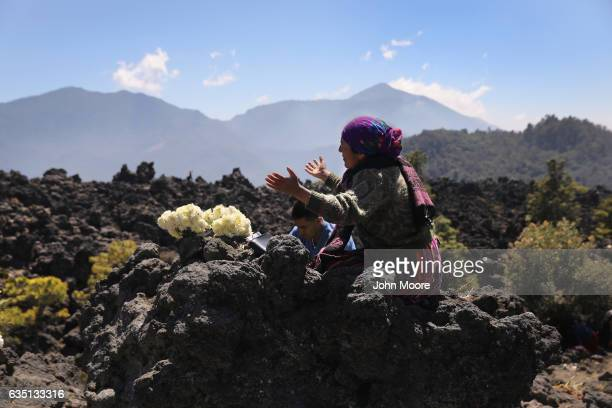 Evangelical Mayans pray from atop Cerro Quemado a sacred Mayan site February 12 2017 in Almolonga Guatemala Almolonga a Mayan town in the western...