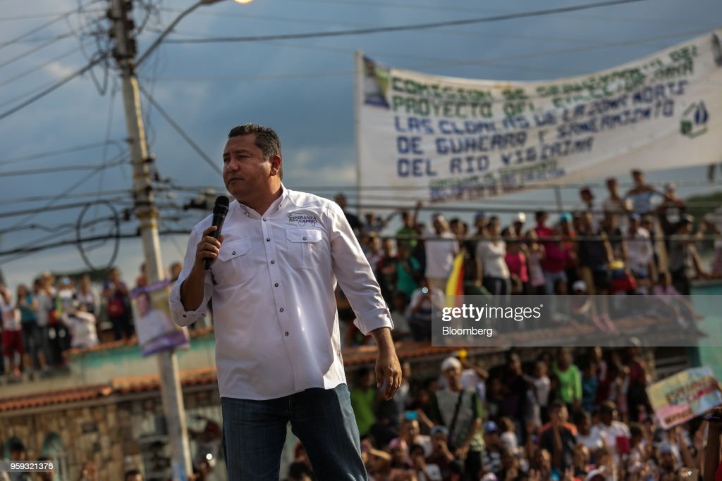 Evangelical pastor Javier Bertucci, presidential candidate for the Esperanza Por El Cambio (EEC) Party, speaks during his closing campaign rally in Valencia, Carabobo state, on Wednesday, May 16, 2018. Venezuelans head to the polls on May 20, as foreign leaders call for a suspension and the country's main opposition alliance shun the elections. Photographer: Manaure Quintero/Bloomberg via Getty Images