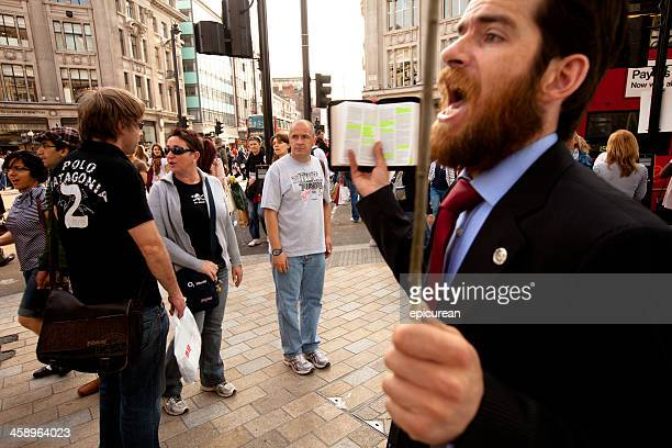 evangelical street preacher in london - fundamentalism stock photos and pictures