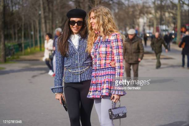 Evangelie Smyrniotaki and Emili Sindlev are seen, outside Chanel, during Paris Fashion Week - Womenswear Fall/Winter 2020/2021 on March 03, 2020 in...
