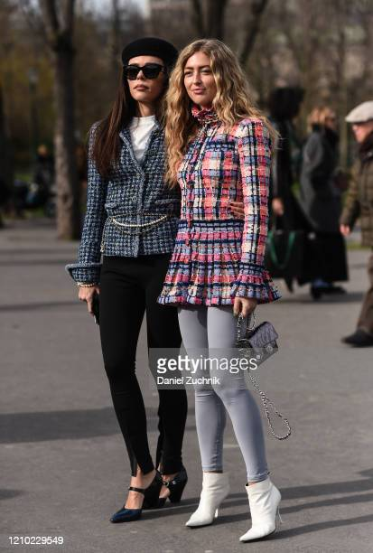 Evangelie Smyrniotaki and Emili Sindlev are seen outside the Chanel show during Paris Fashion Week AW20 on March 03 2020 in Paris France