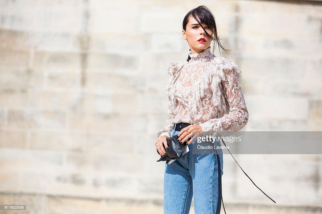 Evangelie Smyrniotaki attends the Elie Saab show on day 5 of Paris Womens Fashion Week Spring/Summer 2017,Êon September 30, 2016 in Paris, France.