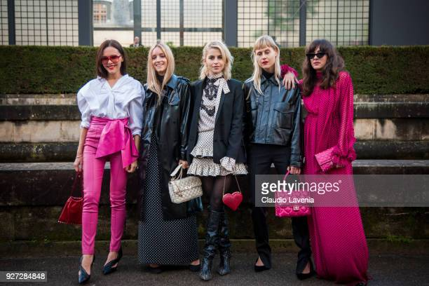 Evangelie Smyrniotaki Charlotte Groeneveld Caroline Daur Linda Tol and Eleonora Carisi are seen in the streets of Paris after the Valentino show...