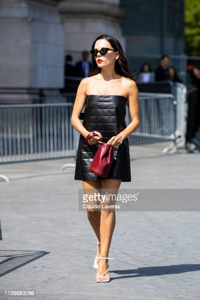 Evangelie Smyrniotaki is seen outside Chanel show during Paris Fashion Week Haute Couture Fall Winter 2019 2020 on July 02 2019 in Paris France