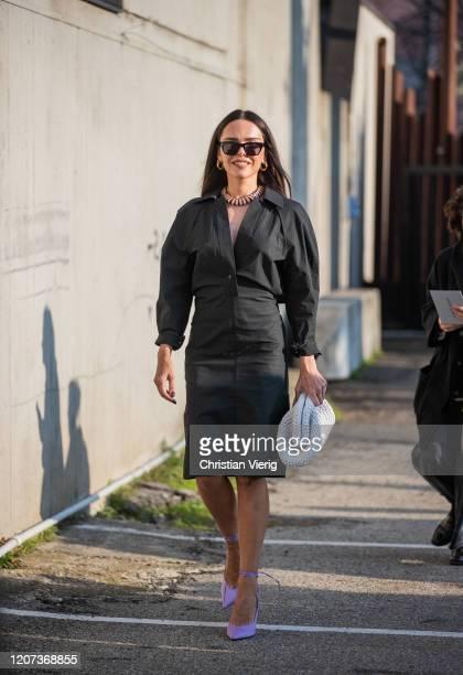 Evangelie Smyrniotaki is seen wearing black dress outside Alberta Ferretti during Milan Fashion Week Fall/Winter 20202021 on February 19 2020 in...