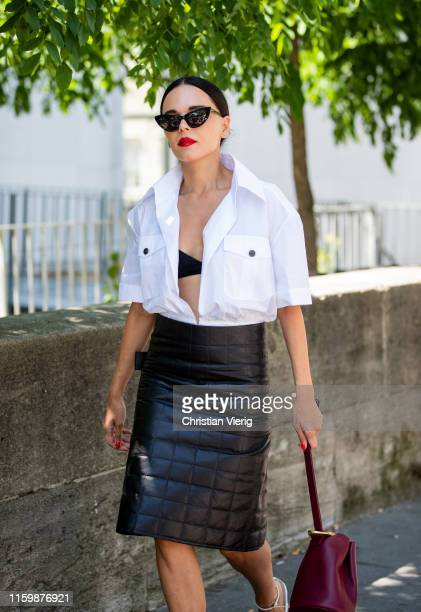 Evangelie Smyrniotaki is seen wearing black skirt white button shirt outside Elie Saab during Paris Fashion Week Haute Couture Fall/Winter 2019/2020...