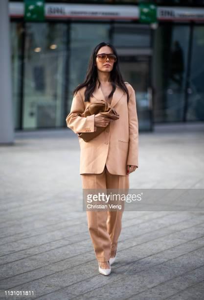Evangelie Smyrniotaki is seen wearing clutch suit outside Alberta Ferretti on Day 1 Milan Fashion Week Autumn/Winter 2019/20 on February 20 2019 in...