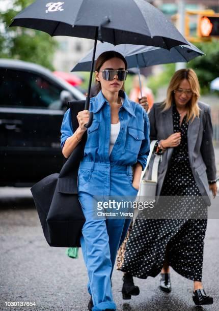 Evangelie Smyrniotaki wearing blue overall is seen outside Mansur Gavriel during New York Fashion Week Spring/Summer 2019 on September 9, 2018 in New...