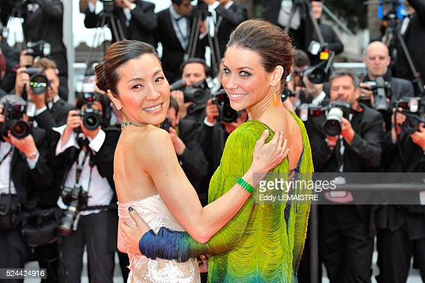 Evangeline Lilly and Michelle Yeoh at the premiere of You Will Meet A Tall Dark Stranger during the 63rd Cannes International Film Festival