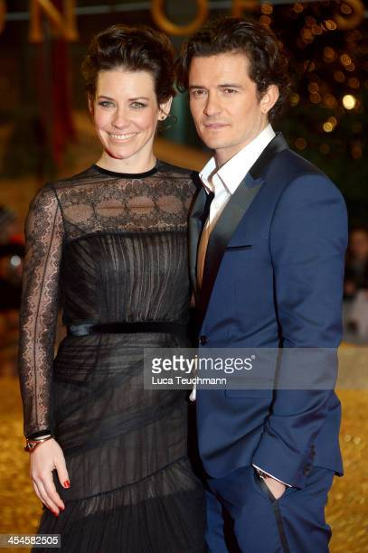 Evangeline Lilly and Orlando Bloom attend the German premiere of the film 'The Hobbit: The Desolation Of Smaug' at Sony Centre on December 9, 2013 in...