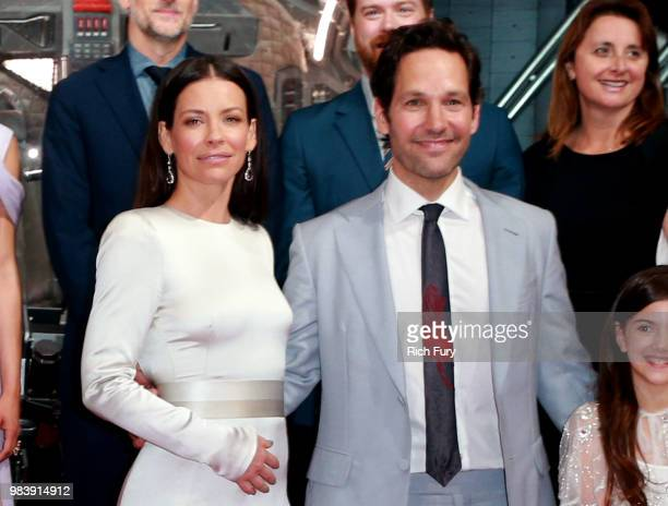 Evangeline Lilly and Paul Rudd attend the premiere of Disney And Marvel's 'AntMan And The Wasp' on June 25 2018 in Los Angeles California