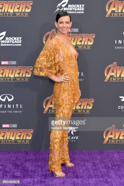 Evangeline Lilly attends the premiere of Disney and Marvel's 'Avengers Infinity War' on April 23 2018 in Los Angeles California