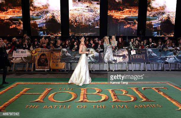 Evangeline Lilly attends the World Premiere of The Hobbit The Battle OF The Five Armies at Odeon Leicester Square on December 1 2014 in London England