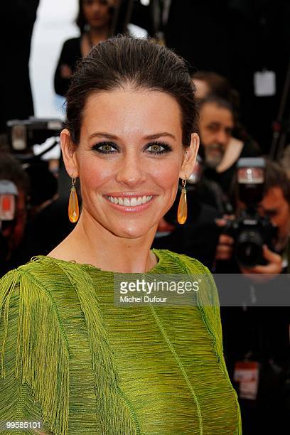 Evangeline Lilly attends the 'You Will Meet A Tall Dark Stranger' premiere at the Palais des Festivals during the 63rd Annual Cannes Film Festival on...