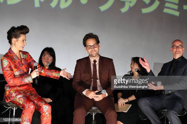 Evangeline Lilly Paul Rudd and director Peyton Reed attend the 'AntMan And The Wasp' premiere on August 23 2018 in Osaka Japan