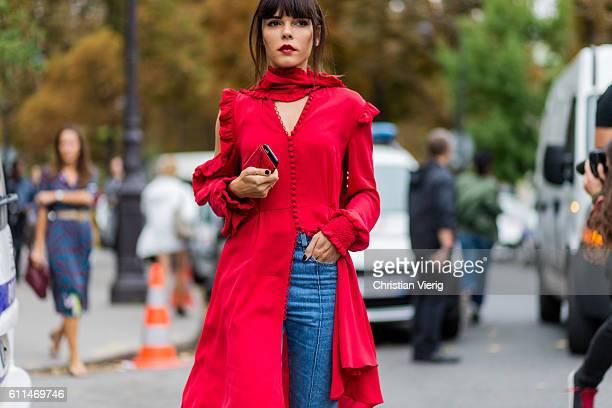 Evangeline Smyrotaki outside Chloe on September 29 2016 in Paris France