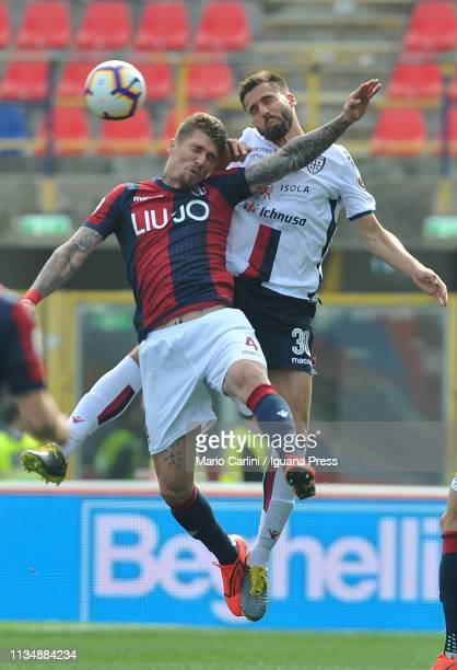 Evangelisa Lyanco of Bologna FC wins a header during the Serie A match between Bologna FC and Cagliari at Stadio Renato Dall'Ara on March 10 2019 in...