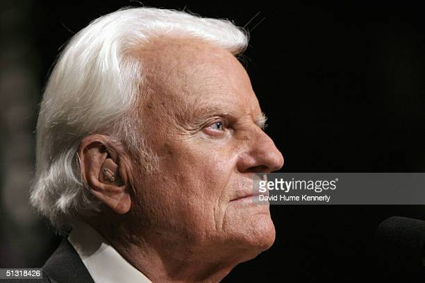 Evangelist Billy Graham looks on at a Billy Graham rally on June 12 2003 in Oklahoma City Oklahoma
