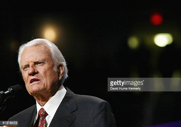 Evangelist Billy Graham speaks at a Billy Graham rally on June 12 2003 in Oklahoma City Oklahoma