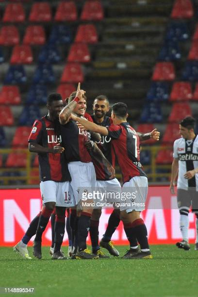 Evangelista Lyanco of Bologna FC celebrates after scoring his team's third goal during the Serie A match between Bologna FC and Parma Calcio at...