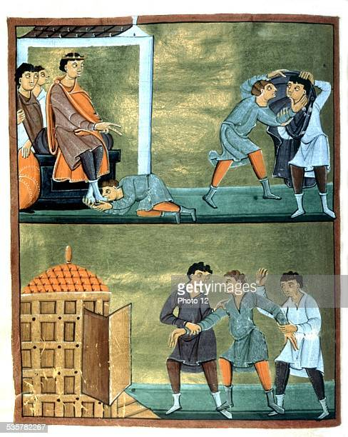 Evangelistary of the Reichenau abbey A prisoner is tried and put in prison Germany c10201040 Munich Staatsbibliothek