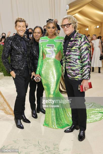Evangelo Bousis, Michael Mente, Ciara and Peter Dundas attend The 2021 Met Gala Celebrating In America: A Lexicon Of Fashion at Metropolitan Museum...