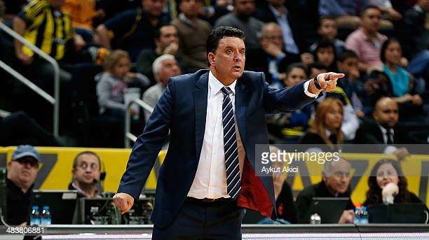 Evangelos Angelou Head Coach of Anadolu Efes Istanbul in action during the 20132014 Turkish Airlines Euroleague Top 16 Date 14 game between...