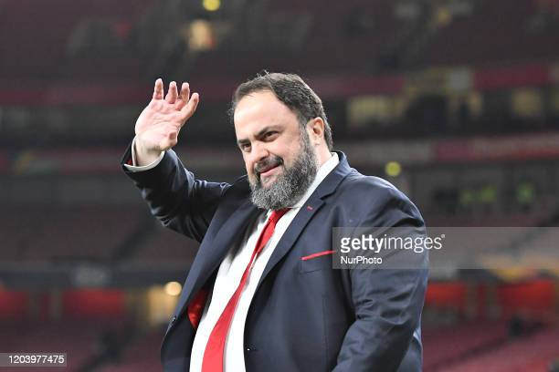 Evangelos Marinakis celebrate during Europa League Round of 32 2nd Leg between Arsenal and Olympiakos at Emirates stadium London England on 27...