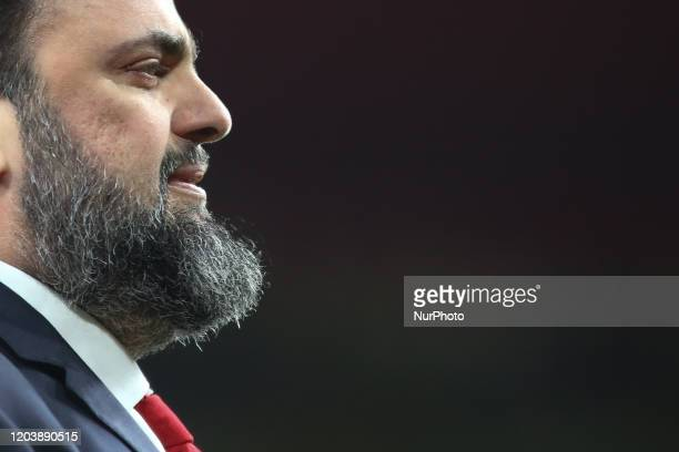 Evangelos Marinakis celebrates during the 2019/20 UEFA Europa League 1/32 playoff finale game between Arsenal FC and Olympiakos FC at Emirates...