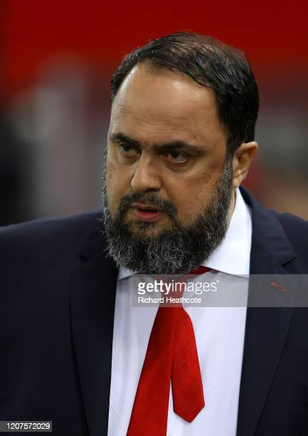 Evangelos Marinakis Olympiacos and Nottingham Forest owner looks on prior to the UEFA Europa League round of 32 first leg match between Olympiacos FC...