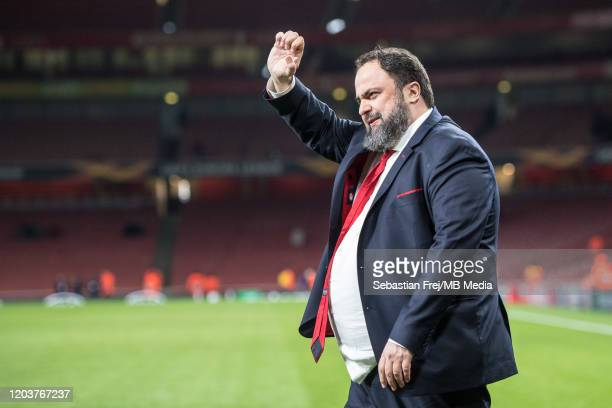 Evangelos Marinakis owner of Olympiacos FC celebrate during the UEFA Europa League round of 32 second leg match between Arsenal FC and Olympiacos FC...