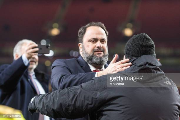 Evangelos Marinakis owner of Olympiacos FC looks on during the UEFA Europa League round of 32 second leg match between Arsenal FC and Olympiacos FC...