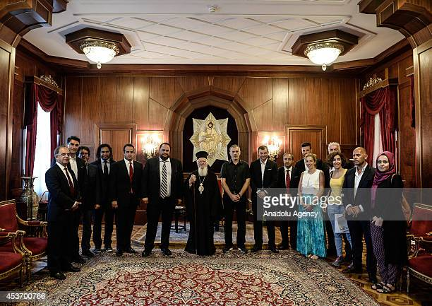 Evangelos Marinakis president of Olympiacos FC and other members visit Patriarch Bartholomew at Ecumenical Patriarchate ahead of a friendly match...