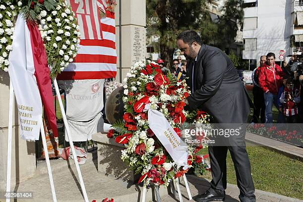 STADIUM PIRAEUS ATTICA GREECE Evangelos Marinakis the owner and President of Olympiacos lays a wreath at the memorial for the victims of the Gate 7...