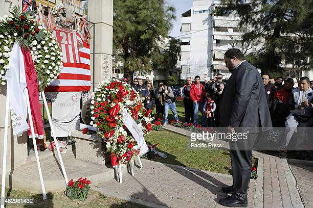 STADIUM PIRAEUS ATTICA GREECE Evangelos Marinakis the owner and President of Olympiacos remembers the victims at the memorial for the victims of the...