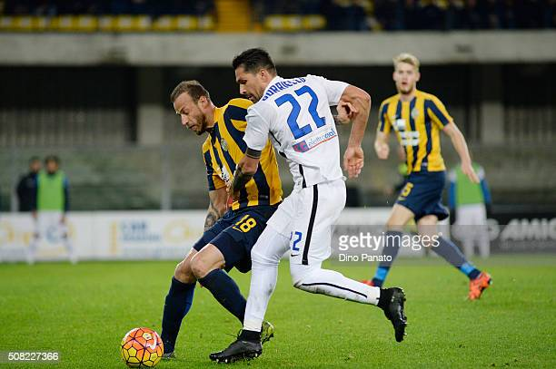 Evangelos Moras of Hellas Verona competes with Marco Borriello of Atalanta BC during the Serie A match between Hellas Verona FC and Atalanta BC at...