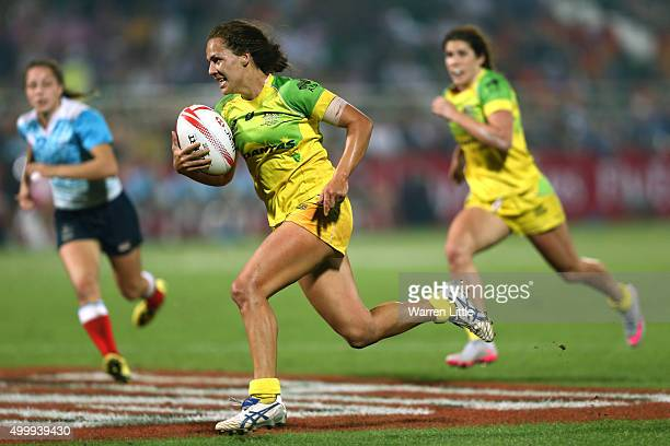 Evania Pelite of Australia scores a try against Russia during the Emirates Dubai Rugby Sevens HSBC World Rugby Women's Sevens Series Cup Final at The...