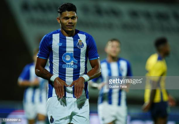 Evanilson of FC Porto celebrates after scoring a goal during the Portuguese Cup match between SU Sintrense and FC Porto at Complexo Desportivo do...