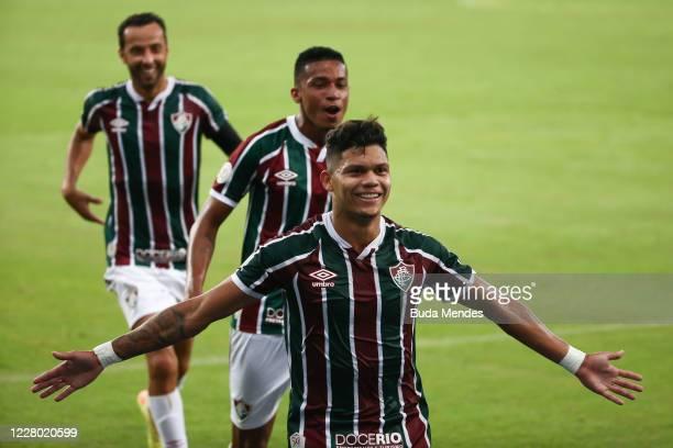Evanilson of Fluminense celebrates a scored goal with his teammates during the match between Fluminense and Palmeiras as part of 2020 Brasileirao...