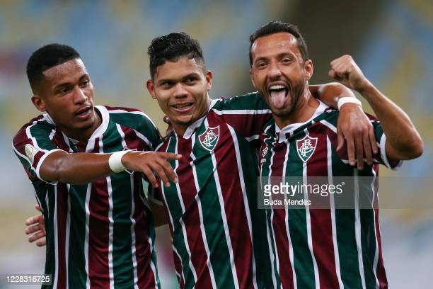 Evanilson of Fluminense celebrates with Marcos Paulo and Nene after scoring a goal during a match between Fluminense and Atletico GO as part of 2020...