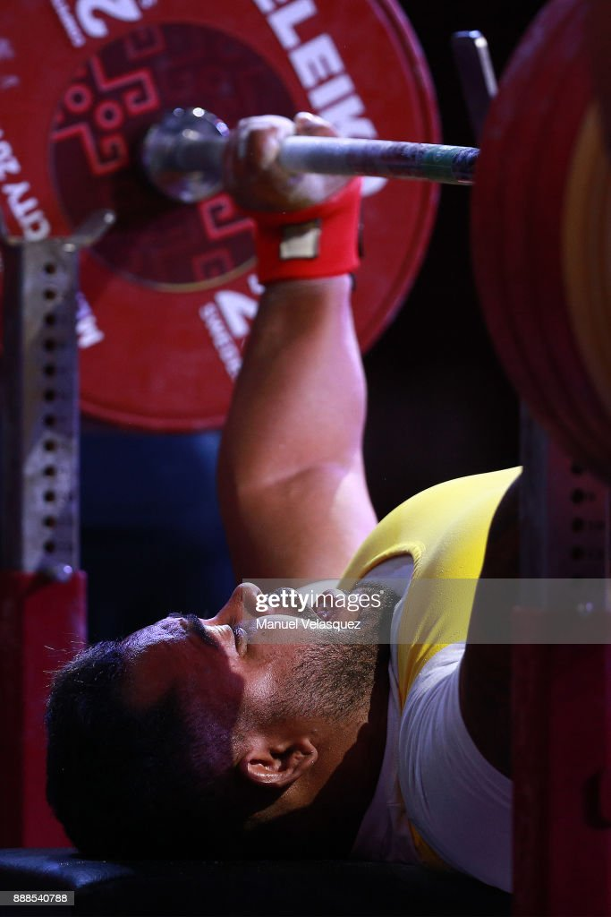 Evanio Da Silva of Brazil competes during the Men's Upt to 88Kg Group B Category as part of the World Para Powerlifting Championship Mexico 2017 at Juan de la Barrera Olympic Gymnasium on December 6, 2017 in Mexico City, Mexico.
