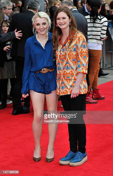 Evanna Lynch and Bonnie Wright attend the Grand Opening of the Warner Bros Studio Tour London The Making of Harry Potter on March 31 2012 in Watford...