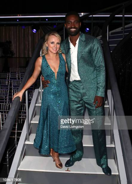 Evanna Lynch and Keo Motsepe pose at Dancing with the Stars Season 27 at CBS Televison City on September 24 2018 in Los Angeles California