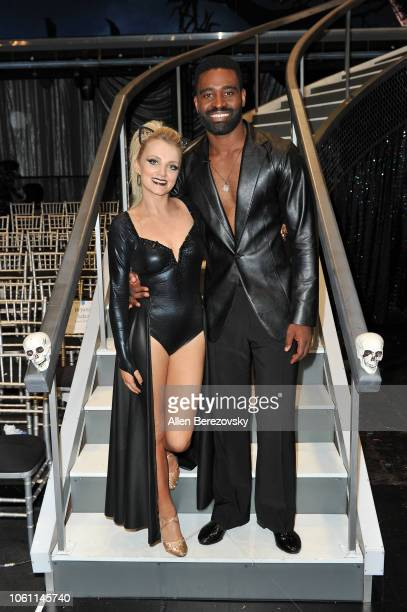 Evanna Lynch and Keo Motsepe pose at 'Dancing with the Stars' Season 27 at CBS Televison City on October 29 2018 in Los Angeles California