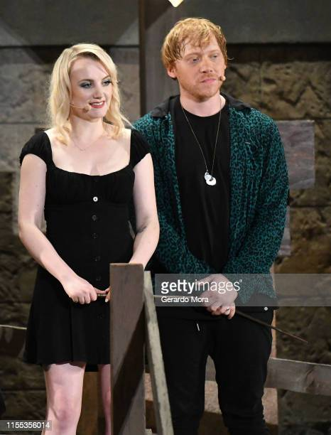 Evanna Lynch and Rupert Grint attend the Hagrid's Magical Creatures Motorbike Adventure Preview at The Wizarding World of Harry Potter on June 11...
