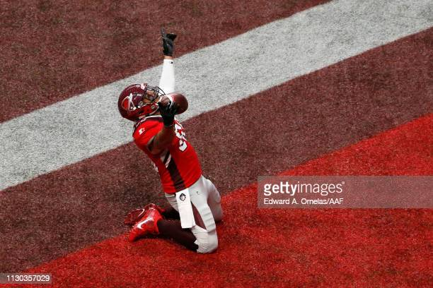 Evan Rodriguez of the San Antonio Commanders celebrates after scoring a touchdown during the first quarter against the Orlando Apollos in an Alliance...