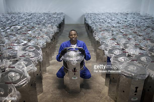 Evans Chibulta age 21 poses for a portrait with cook stove supplied by Clean Development Mechanism are assembled on June 15 in Lusaka Zambia He...