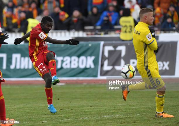 Evans Kangwa of FC Arsenal Tula vies for the ball with Ragnar Sigurdsson of FC Rostov during the Russian Premier League match between FC Arsenal Tula...